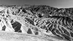 Zabriskie Point, Death Valley (Les Cornwell Photos) Tags: california usa sand 112degf desert hottest rocks holiday zabriskiepoint landscape nevada america blackandwhite deathvalley hot