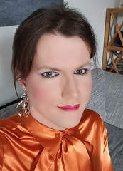 Close Up (Rikky_Satin) Tags: silk satin pussy bow blouse crossdresser transvestite transgender tgirl tgurl gurl sissy