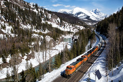 Along the Middle Fork (Justin Franz) Tags: bnsf bnsfrailway montana glacier glaciernationalpark glacierpark railroad railway mountain mountains trains freight greatnorthern