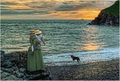 The Homecoming (Hugh Stanton) Tags: mother child pet dog ship coast shoreline sunset