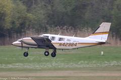 N42984 - 1983 build Piper PA-34-220T Seneca III, inbound to Runway 24 at Friedrichshafen during Aero 2017 (egcc) Tags: 348333071 aero aerofriedrichshafen aerofriedrichshafen2017 bodensee edny fdh friedrichshafen lightroom n42984 pa34 pa34220t piper planefun seneca