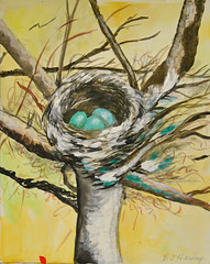 The Nest - by Mom (BKHagar *Kim*) Tags: bkhagar artday thursday art artwork painting paint watercolor watercolour mom nest birdsnest nature tree limbs
