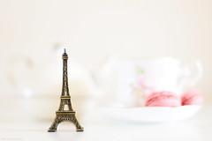 Let's have breakfast in Paris.... (eleni m) Tags: paris eiffeltower breakfast dof cup saucer teapot macarons decoration pink white bronze