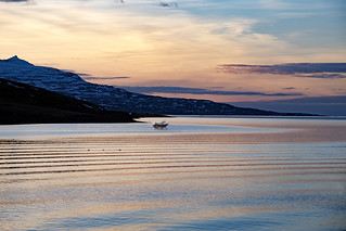 Sunrise on fjord
