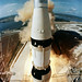 The huge, 363-feet tall Apollo 11 space vehicle is launched from Pad A, Launch Complex 39, Kennedy Space Center, July 16, 1969. Original from NASA. Digitally enhanced by rawpixel.