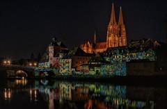 The Stone Bridge is open again! (ramerk_de) Tags: regensburg night hdr cathedral danube germany steinernebrücke stonybridge ratisbone medieval artisticperformance