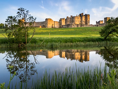 Alnwick Castle (Johnners61) Tags: alnwickcastle alnwick castle riveraln river northumberland aln england britain uk evening dusk twilight golden goldenhour reflection water framed calm still peace peaceful idyllic monument historic medieval olympuspen olympus pen ep5 microfourthirds micro four thirds mft m43 landscape