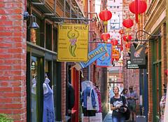 Fan Tan Alley (Darrell Wyatt) Tags: chinatown victoria britishcolumbia canada shopping shops lanterns display