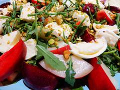SALAD DSCN6108 (Look.) Tags: salad fresh pluot pistachios seabeans shallots oliveoil vinegar arugala mozzarelladebuffalo food