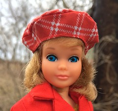 Out for a walk (Foxy Belle) Tags: pose n play skipper mod short hair plaid hat best buy red coat long it buttons cotton outside nature yard trees spring cold damp rainy doll vintage 1970s