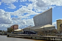 Imperial War Museum (amhjp) Tags: iwmnorth imperialwarmuseum iwm museum england english british britain building architecture sky clouds river riverbank landscape landmark lancashire amhjpphotography amhjp nikon nikondslr europe europeonflickr anything war wartime armour armouries