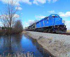 Indiana Northeastern grain train at Steubenville Indiana (Matt Ditton) Tags: indiana northeastern train railroad shortline