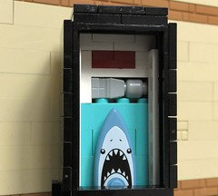 Jaws poster booth (rh1985moc) Tags: cinema multiplex lego jaws screen films movie projector poster