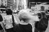 Seen in NYC, 2018 (On the right side of the sidewalk!) Tags: windy day black white lady hair sidewalk waiting for ligth crosswalk street photography foto callejera