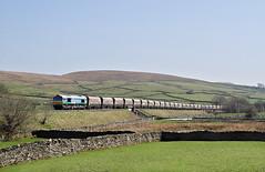 Sence At Foredale. (Neil Harvey 156) Tags: railway 66711 sence foredale helwithbridge settletocarlislerailway stonetrain arcowstone 6m31 class66 aggregateindustrieslivery gbrf
