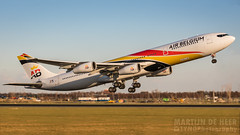 OO-ABA (tynophotography) Tags: air belgium a340300 ooaba surinam airways a343 a340 sunset eham schiphol