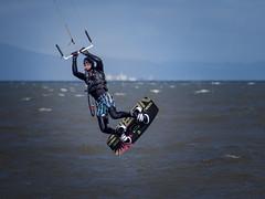 Hanging High (roseysnapper) Tags: firthofforth olympusmzuikodigitaled75300mmf4867ii olympusomdem10ii kiteboarding cramond edinburgh scotland hanging jump kite outdoor river sport water wave wind