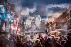 St Albans Market (RCARCARCA) Tags: crowds ghosts tourists photoartistry people clocktower buildings canon orange red 70200l bustle blue grunge stalbans marketstall marketplace hustle flags stormclouds 5diii clouds frenchrow market cathedral architecture