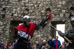 Jacques goes in for the kill (Coed Celyn Photography) Tags: medieval reenactment harlech snowdonia north wales knight knights castle castell cadw history historic historical living larp battle armour armor fighting fight weapon weaponry weapons costume clothing outfit sir chainmail sword swords shield glave helmet