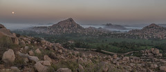 magic landscape (sami kuosmanen) Tags: taivas tree travel asia winter nature india intia rock rockclimbing geology granite emotion luonto light landscape sun sunrise sky puu history hampi maisema moon kuu mountain mist haze hill road tie temple temppeli old vijanagara kingdom