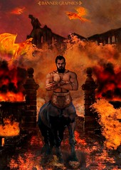 The Sentinel of Hades (Banner Graphics) Tags: hell fire hades centaur scary male portrait photomanipulation flames castle hooves