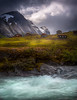 Cabins (andreassofus) Tags: norway sognogfjordane nature landscape water stream mountain mountains moutainscape sky clouds dramatic cabins grandlandscape summer summertime travel travelphotography grass outdoor hike hiking nopeople mood moody