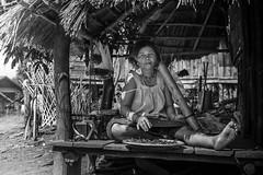 Portrait, Laos (pas le matin) Tags: portrait street candid laos lao asia asie rue village town hut woman femme hutte travel voyage bw nb noiretblanc blackandwhite monochrome southeastasia canon 7d canon7d canoneos7d eos7d