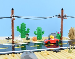 Mini road trip😎 (Alex THELEGOFAN) Tags: lego legography minifigure minifigures minifig minifigurine minifigs minifigurines baby desert cactus series collectible 18 race car rock sand tan scorpion route road 66 black snake eclectic string bush trip