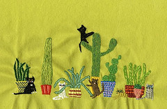 Cactus cats. (vivienne_strauss) Tags: embroidery cactus cats