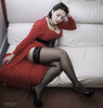 """""""I wonder if you will come"""" (GBRphotography) Tags: red dress stockings lacetops nylons ffs highheels stockingsandheels"""