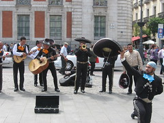 Mexico in Madrid, Puerta del Sol (d.kevan) Tags: streetmusicians mariachis puertadelsol people musicalinstruments streetevents costumes mexicantraditions buildings formerpostoffices regionalgovernment trees windowbars decorativedetails streetscenes