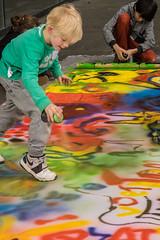 Open air art class.. (PeteMartin) Tags: art graffiti kids museum painting amsterdam netherlands nld