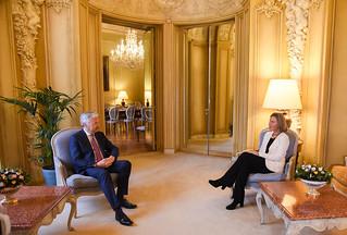 Federica Mogherini and Didier Reynders, Belgian Deputy Prime Minister, April 2018