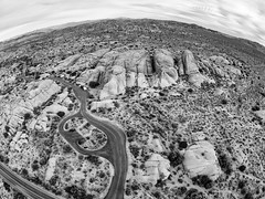 One Flew Over The Joshua Tree Nation Park (thedot_ru) Tags: aerial drone photography photograph joshuatree nationalpark adventure wanderlust travel travels travelling tourism tourist trip sky clouds skyporn mountains rockformations rocks road fromabove wideangle horizonline california cali southerncalifornia desert cactus park sunset sunrise sun rv usa america unitedstates 2014