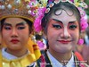 2018-02a Bangkok Chinatown (56) (Matt Hahnewald) Tags: matthahnewaldphotography facingtheworld live aesthetic springfestival chinesenewyear parade performer dancer makeup lunaryear festival head face painted eyes costume consent fun entertainment travel tourism culture tradition enjoyment socialevent diversity impact traditional cultural folklore touristattraction celebration historical yaowarat bangkok chinatown thailand thaichinese asia twopeople image photo faceperception physiognomy nikond3100 primelens 50mm 4x3 horizontal street portrait doubleportrait closeup headshot outdoor color colorful posingforcamera iconic awesome incredible authentic sightseeing partying photography ambiguity attire softfocus chracter relationship seveneighthsview nikkorafs50mmf18g lookingcamera