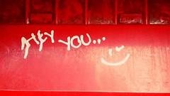 Hey you :) (Georgie_grrl) Tags: heyyou smileyface postalbox tagging graffiti cute message positive smile toronto ontario kingstreetwest red