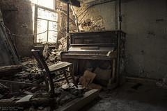 One last song (Dennis van Dijk) Tags: abandoned forgotten decay derelict europe eu ue urban exploration art lost found moody beauty precious stairs rust dust explorer music piano player man pianoman maestro grand