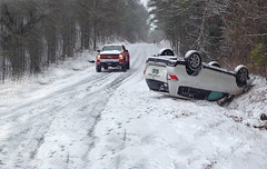 Snow accident car flips (Eagle-Wings) Tags: carflips snowyroad accident wood forest snowstorm car road trees snow truck globalwarming climatechange
