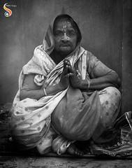 Folded hands (Shikher Singh) Tags: portrait lady woman namaste foldedhands hands holi vrindavan widow saree monochrome blackandwhite determination empathy resolve shikherâsimagery