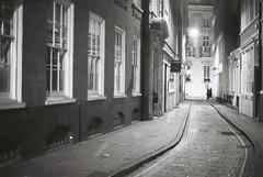 London (goodfella2459) Tags: nikon f4 af nikkor 50mm f14d lens ilford delta 400 35mm blackandwhite film analog night london city street road buildings light bwfp