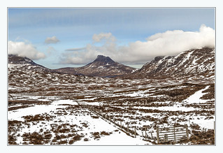 A snowy view towards Stac Polly (Stac Pollaidh)