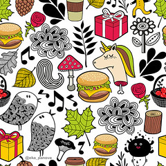 Seamless pattern with cute unicorns and forest animals. (eka panova) Tags: seamless endless repeat background backdrop pattern ornament wallpaper fabric animal bird music unicorn horse dead death monster character cartoon creature funny cute mushroom plant floral wood woodland tree leaves flower rose romantic design element doodle head gift box present maple coffee hamburger fastfood basket berries cone forest children coneicecream kid spoonflower