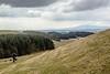 Down the hill (allybeag) Tags: burnswarck hill hillfort fort roman caledionian scotland clouds criffel steve kiri dog