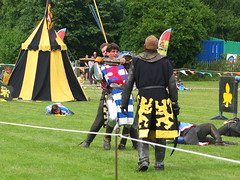 DSCF3871 (SierPinskiA) Tags: ruffordabbeycountrypark rufford knightsofnottingham fujixs1 jousting medieval horse knights goldeneagle falcon