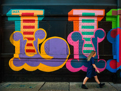 Is That Lilly (Steve Taylor (Photography)) Tags: oker like graffiti graphic mural streetart colourful contrast lady woman uk gb england greatbritain unitedkingdom london shape likenothingelse eborstreet shoreditch wharehouse warehouse letters barelegs boots tunic