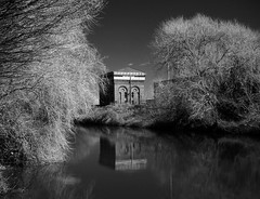 water tower (Johnson Cameraface) Tags: 2018 april spring olympus omde1 em1 micro43 mzuiko 1240mm f28 johnsoncameraface riverdon canal doncaster donnavigation southyorkshire railwaywatertower monochrome blackandwhite infrared ir filter
