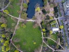 Aerial photography of park Volksgarten in Cologne