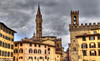 Piazza San Firenze (Jan Kranendonk) Tags: tourists florence firenze italy italian europe european historical architecture landmark sky piazza square plaza buildings houses towers travel tourism cloudy rain clouds italia hdr