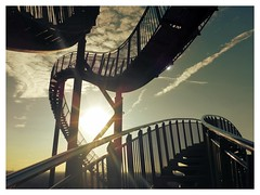 """""""The bridge between reality and a dream is work"""" (undefinable moods) Tags: tigerturtle duisburg architecture rollercoaster sky clouds sunset updown stairs stairway dreams reality bridge"""