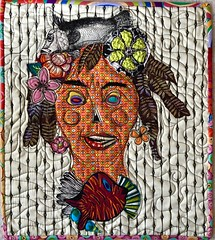 Fish Lady (opal c) Tags: collage fabric quilted face rawedgecollage fish